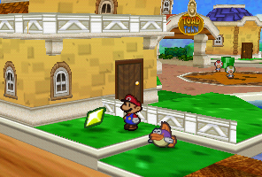 Mario uses Sushie to get a Star Piece in Toad Town in Paper Mario