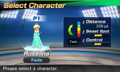 Rosalina's stats in the golf portion of Mario Sports Superstars