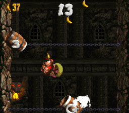Diddy Kong and Dixie Kong in the second Bonus Level in Chain Link Chamber in the SNES version