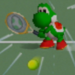 Yoshi charging a left-handed backhand shot in Mario Tennis