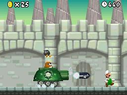 Fire Luigi fighting Monty Tank in World 6-Castle