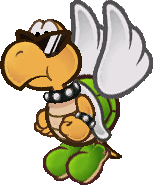Sprite of a green Koopa Paratroopa from Super Paper Mario.