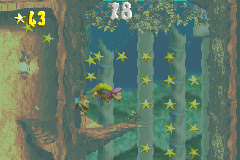 The Kongs in the first Bonus Level of Sunken Spruce in the Game Boy Advance remake of Donkey Kong Country 3