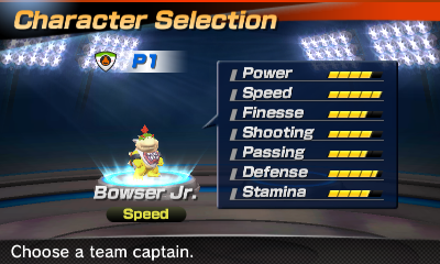 Bowser Jr.'s stats in the soccer portion of Mario Sports Superstars