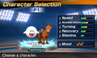 Boo's stats in the horse racing portion of Mario Sports Superstars