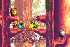 The Kongs find the Koin of Springin' Spiders in the Game Boy Advance remake