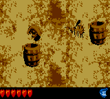 Dixie Kong blasting out of a Barrel Cannon in Kannon's Klaim in Donkey Kong Land 2