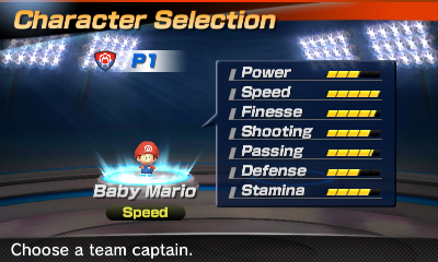 Baby Mario's stats in the soccer portion of Mario Sports Superstars