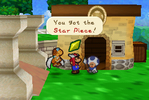 Mario getting a Star Piece from Fice T. in Paper Mario