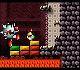 Yoshi about to finish off Tap-Tap The Red Nose in the level Tap-Tap The Red Nose's Fort in Super Mario World 2: Yoshi's Island.