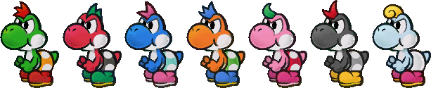 Variants of the Yoshi in Paper Mario: The Thousand-Year Door