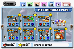 Mystic Forest Plus's level selection screen.