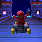 Shy Guy performing a trick.