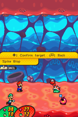 Mario and Luigi battling a Spike Blop and a Goombule in Trash Pit
