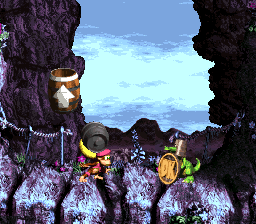 Donkey Kong Country 3: Dixie Kong's Double Trouble!: Dixie Kong holding a Steel Barrel at Koin in Ropey Rumpus