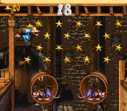 Kiddy Kong in the first Bonus Level of Squeals on Wheels