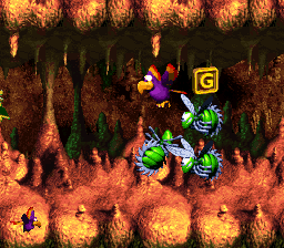 The G in Buzzer Barrage from Donkey Kong Country 3: Dixie Kong's Double Trouble!