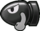 Sprite of a Bullet Bill from Super Paper Mario.