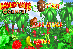 The mode selection screen in Donkey Kong Country for the Game Boy Advance