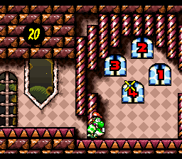 Yoshi about to throw an egg at the door in the level King Bowser's Castle in Super Mario World 2: Yoshi's Island
