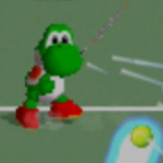 Yoshi charging a left-handed forehead shot in Mario Tennis