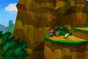 Mario finding a Star Piece on the platform in the scene to the west of Goomba Village in Paper Mario