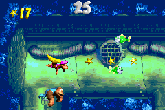 Dixie Kong and Kiddy Kong collecting stars in the first Bonus Level of Surf's Up