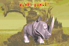 Rambi Bonus! Bonus Area title card in the Game Boy Advance version of Donkey Kong Country