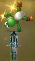 Yoshi performing a Trick in Mario Kart Wii