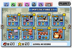 Mystic Forest's level selection screen.