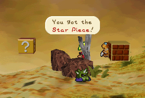 Mario finding a Star Piece behind a rock in Gusty Gulch in Paper Mario