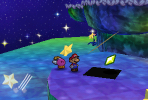 Mario finding a Star Piece under a hidden panel on the first step in Shooting Star Summit in Paper Mario