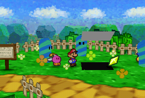Mario finding a Star Piece under a hidden panel between the Candy Canes in Pleasant Path.