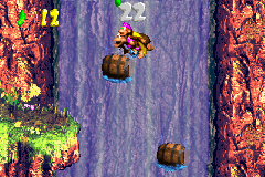 The Kongs in the first Bonus Level of Barrel Drop Bounce in the Game Boy Advance remake