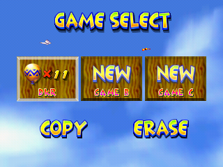 The file selection screen of Diddy Kong Racing.
