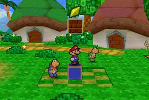 Mario finding a Star Piece on the brick block in Koopa Village in Paper Mario