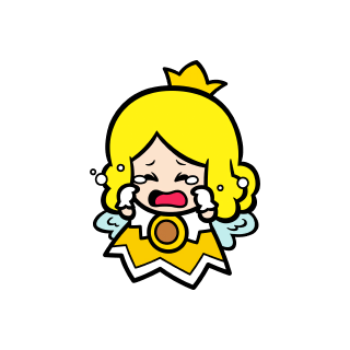 Crying yellow Sprixie Princess stamp from Super Mario 3D World + Bowser's Fury.