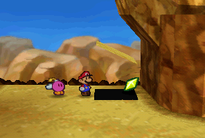 Mario finding a Star Piece under a hidden panel down the cliff in Mt. Rugged in Paper Mario