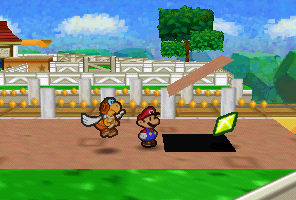 Mario finding a Star Piece under a hidden panel near the railroad in Toad Town in Paper Mario