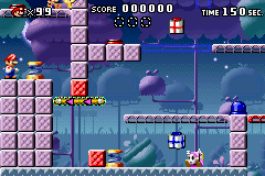 A portion of Level 5-1+ from the game Mario vs. Donkey Kong.