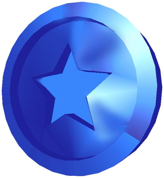 Artwork of a Blue Coin in Super Mario Sunshine.