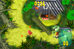 Diddy Kong collecting fireflies while avoiding getting clubbed by Klubba in the mini-game Bag a Bug