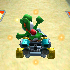 Yoshi performing a trick.