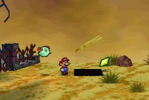 Mario finding a Star Piece under a hidden panel in Gusty Gulch in Paper Mario