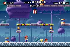 A portion of Level 5-4+ from the game Mario vs. Donkey Kong.