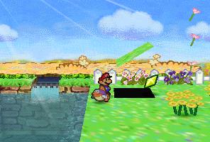 Mario finding a Star Piece under a hidden panel near the spring in Flower Fields in Paper Mario