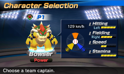 Bowser's stats in the baseball portion of Mario Sports Superstars