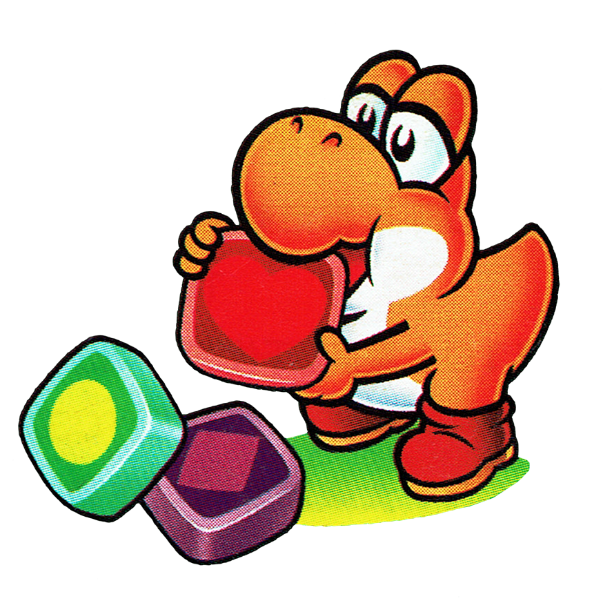 Little Yoshi eating a panel from Tetris Attack.