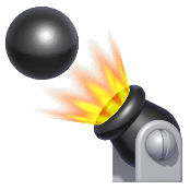 A cannonball being shot out of a cannon in Super Mario Run.