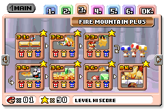 Level select of Fire Mountain Plus